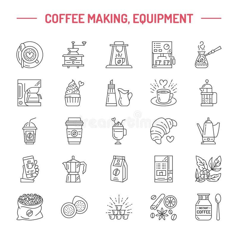 Vectorlijnpictogrammen van koffie die materiaal maken De pot van elementenmoka, Franse pers, koffiemolen, espresso, verkoop, koff stock illustratie