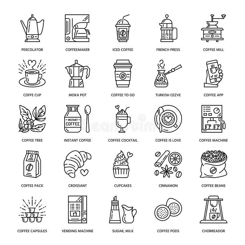 Vectorlijnpictogrammen van koffie die materiaal maken Elementen - mokapot, Franse pers, koffiemolen, espresso, het verkopen royalty-vrije illustratie