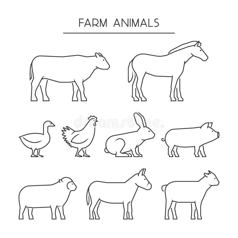 Vectorlijnreeks landbouwbedrijfdieren geïsoleerde silhouettendieren vector illustratie