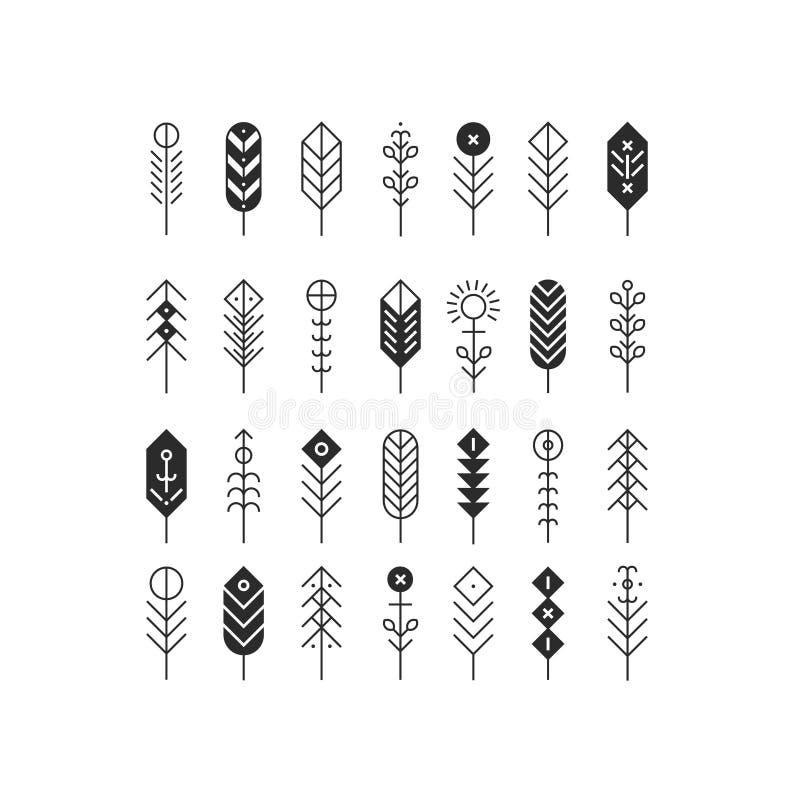 Vectorlijnveren en pijlen royalty-vrije illustratie