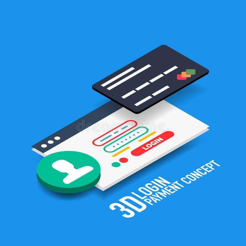 Vectorlogin gebruikersbenaming en de betalingsconcept van wachtwoordinternet stock illustratie