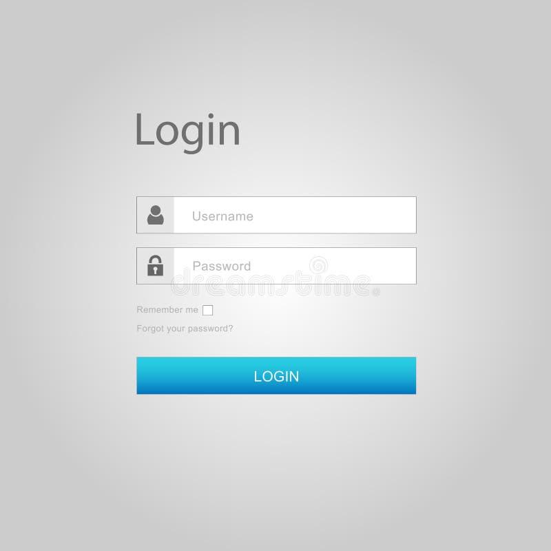 Vectorlogin interface - gebruikersbenaming en wachtwoord stock illustratie