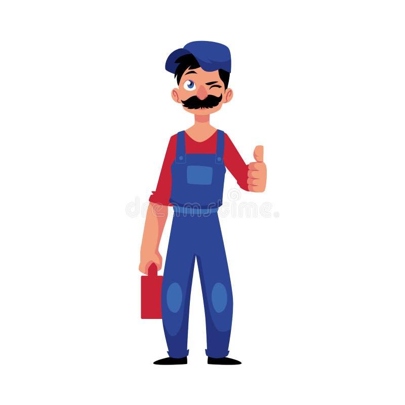 Vectorloodgietermens die, duimen omhoog knipogen royalty-vrije illustratie