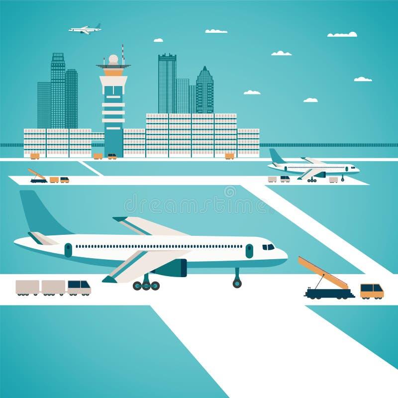 Vectorluchthavenconcept royalty-vrije illustratie