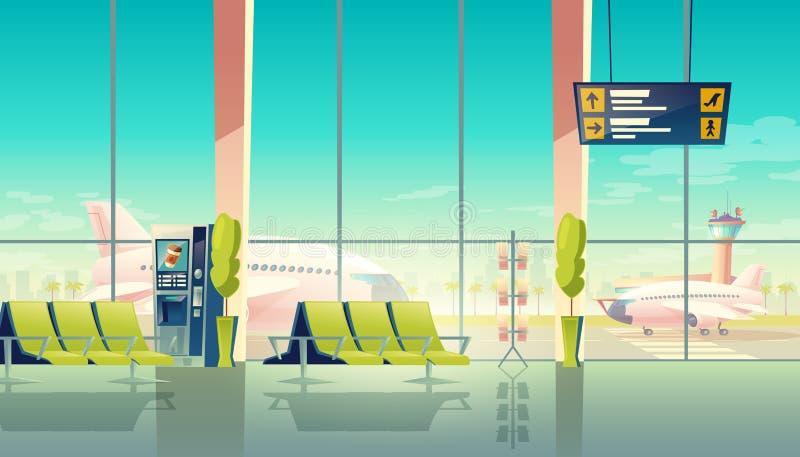 Vectorluchthavenzaal, internationale terminal reis concept royalty-vrije illustratie