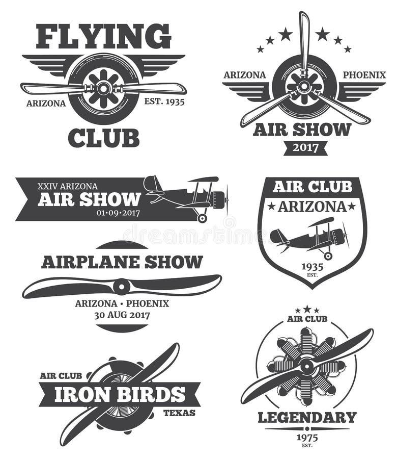 Vectorluchtvaartkentekens, de emblemen van de aviaclub, geplaatste vliegtuigemblemen royalty-vrije illustratie