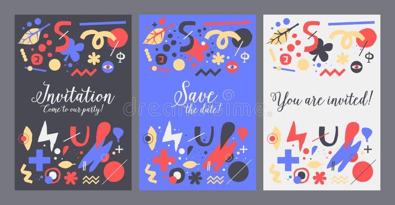 Vectormalplaatje als achtergrond met funky hand getrokken elementen Kan voor partij, verjaardag, uitnodigingen en huwelijken word royalty-vrije illustratie