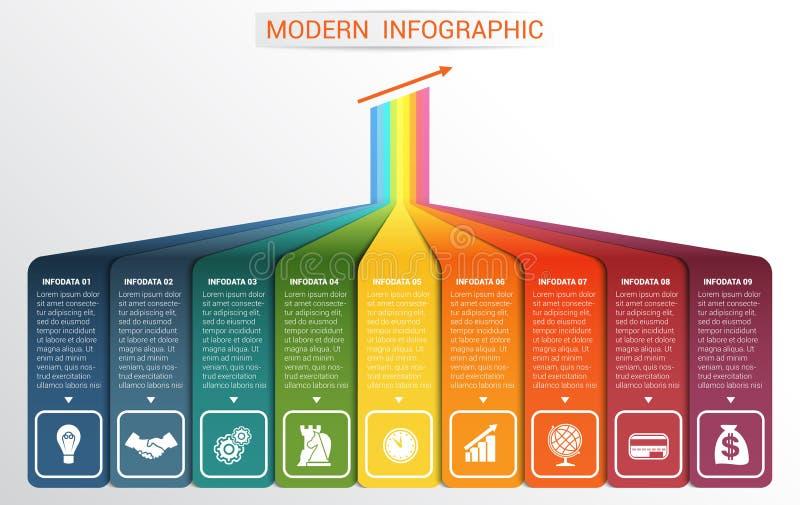 Vectormalplaatje Infographic voor 9 opties royalty-vrije illustratie