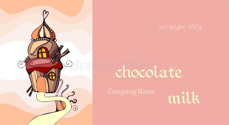 Vectormalplaatje met leuke cupcake Chocolade verpakkingsontwerp royalty-vrije illustratie