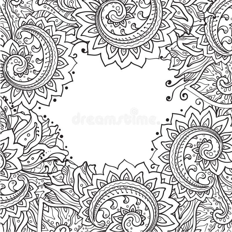 Vectormalplaatje met mooi zwart-wit bloemenpatroon stock illustratie