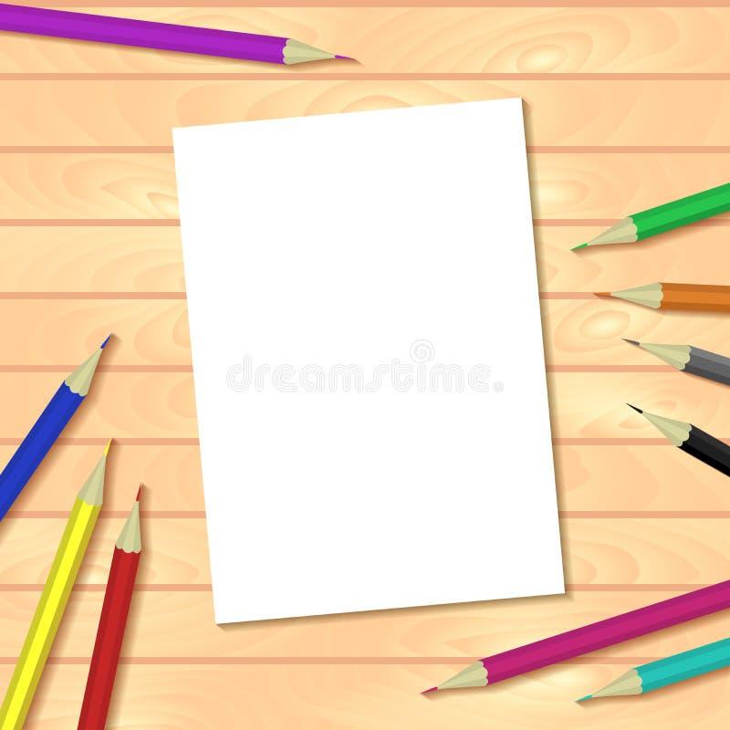 Vectormalplaatje of spot omhoog met houten planken tabel, kleurrijk potloden en document document a4 Gemakkelijk om uw beeld te p vector illustratie