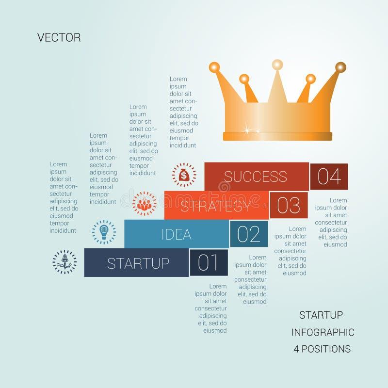 Vectormalplaatje startsucces voor vier posities royalty-vrije illustratie