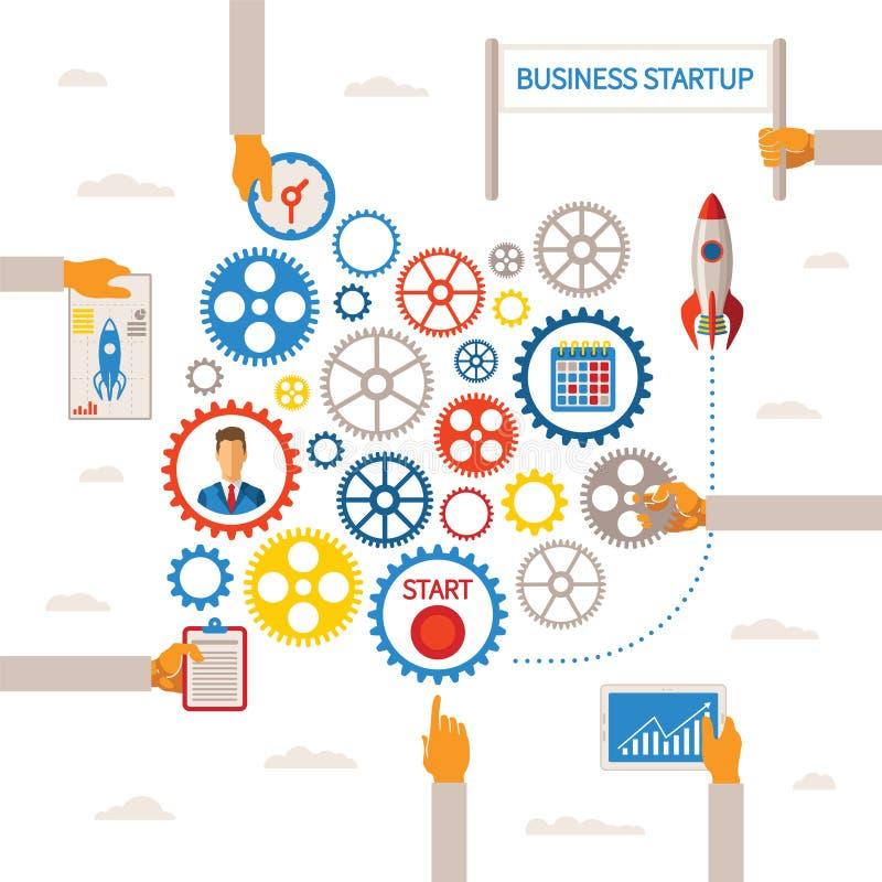 Vectormalplaatje van bedrijfsbegin infographic concept vector illustratie