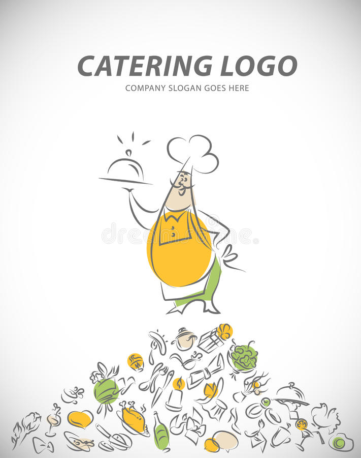 Vectormalplaatje van het embleem van het cateringsbedrijf royalty-vrije illustratie