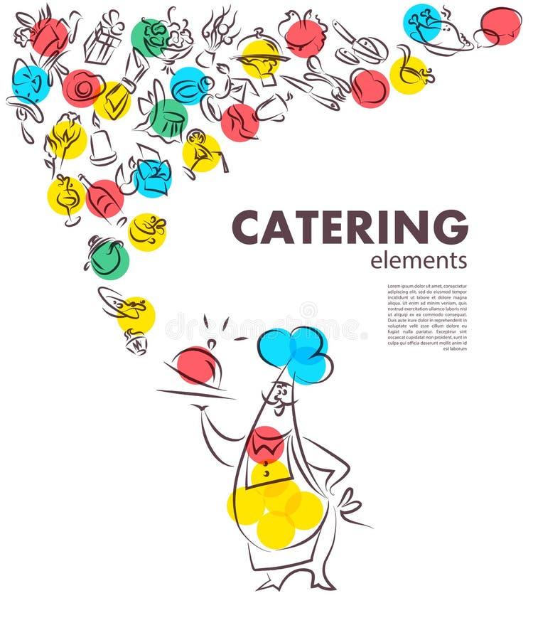 Vectormalplaatje van het embleem van het cateringsbedrijf vector illustratie