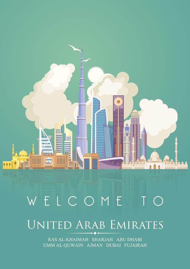 Vectormalplaatje van Verenigde Arabische Emiraten Identiek en geduld De vlieger van de V.A.E met moderne gebouwen en moskee in li stock illustratie