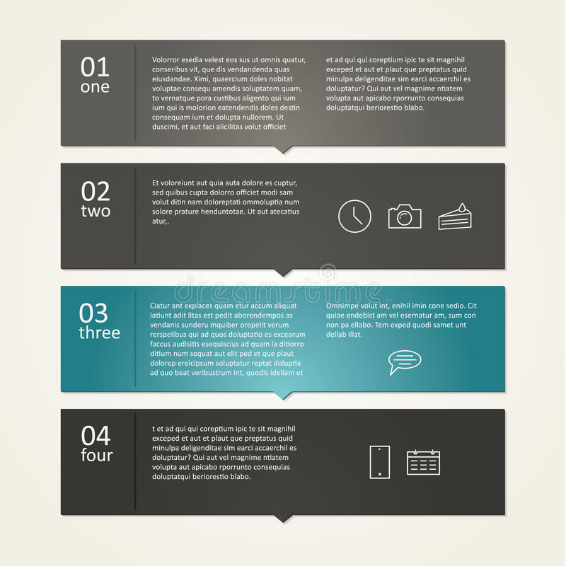 Vectormalplaatje - vier keuzen, stappen met plaats voor tekst en im stock illustratie