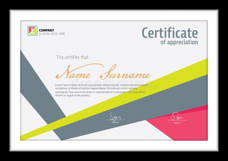 Vectormalplaatje voor certificaat, schoon kleurrijk diploma royalty-vrije illustratie