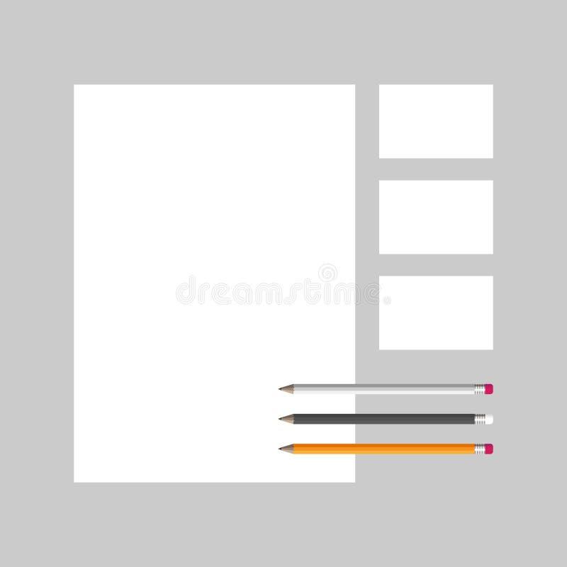 Vectormalplaatje voor het brandmerken van identiteit kantoorbehoeftenspot omhoog royalty-vrije illustratie