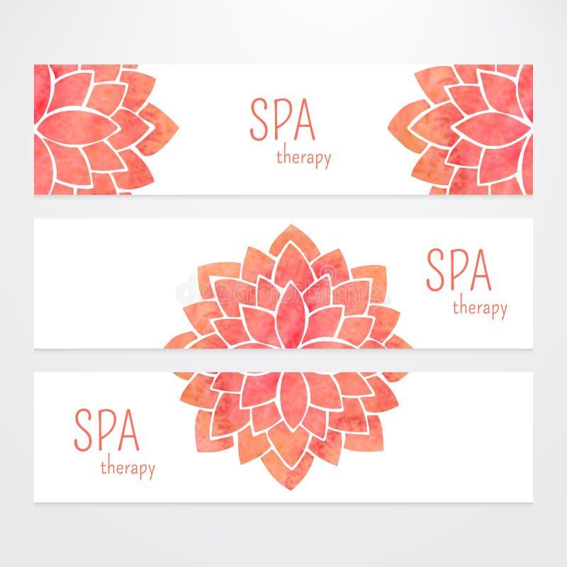 Vectormalplaatjes van banners met de bloemmandala van de waterverf rode lotusbloem stock illustratie