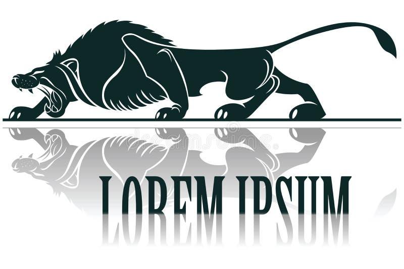 Vectormalplaatjetatoegering Beeld grafische stijl van leeuw met lange schaduw stock illustratie