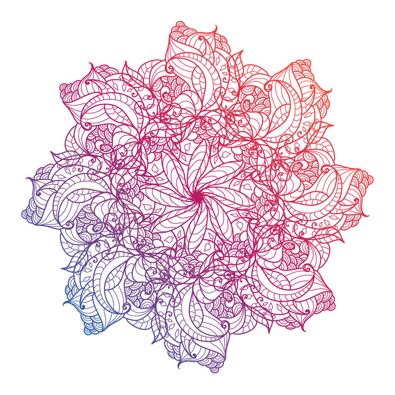 Vectormandala, bloemen, bloem, oosters cirkelpatroon Islam, Arabisch, Indiër, Turks, Pakistan royalty-vrije illustratie