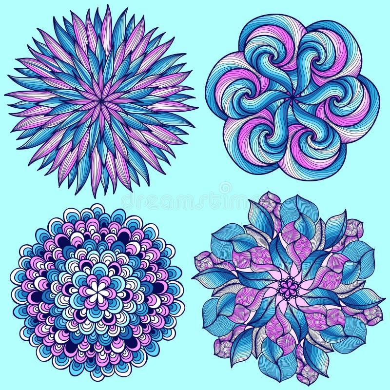 vectormandalas Gekleurde mandalareeks Oosters rond ornament Aziatisch ontwerpelement vector illustratie