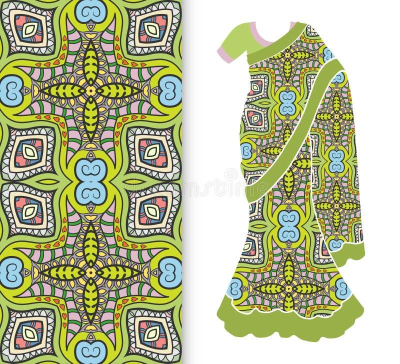 Vectormanierillustratie, gestileerde Indische Sari, kledingsmodel stock illustratie