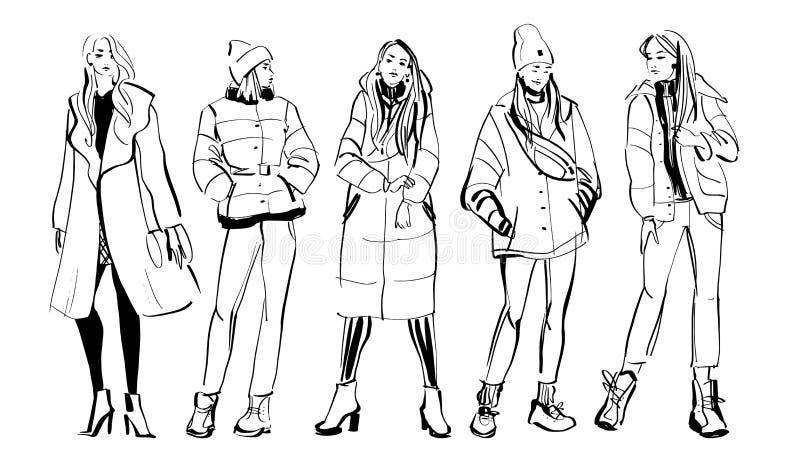 Vectormanierillustratie van moderne jonge die meisjesmodellen in de doekinzameling van de de lenteherfst op witte achtergrond wor vector illustratie