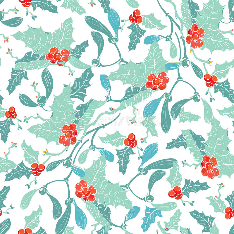 Vectormaretak Holly Berries Blue Red Seamless royalty-vrije illustratie