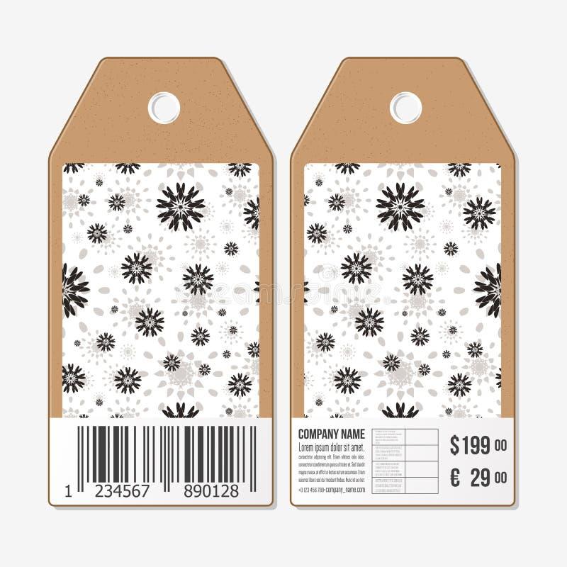 Vectormarkeringenontwerp aan beide kanten, de etiketten van de kartonverkoop met streepjescode Abstract bloemenpatroon Eenvoudige royalty-vrije illustratie