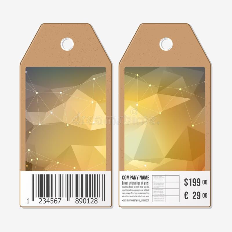 Vectormarkeringenontwerp aan beide kanten, de etiketten van de kartonverkoop met streepjescode Abstracte geometrische kleurrijke  stock illustratie