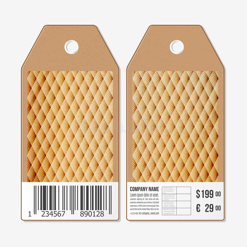 Vectormarkeringenontwerp aan beide kanten, de etiketten van de kartonverkoop met streepjescode Abstracte houten veelhoekige achte stock illustratie