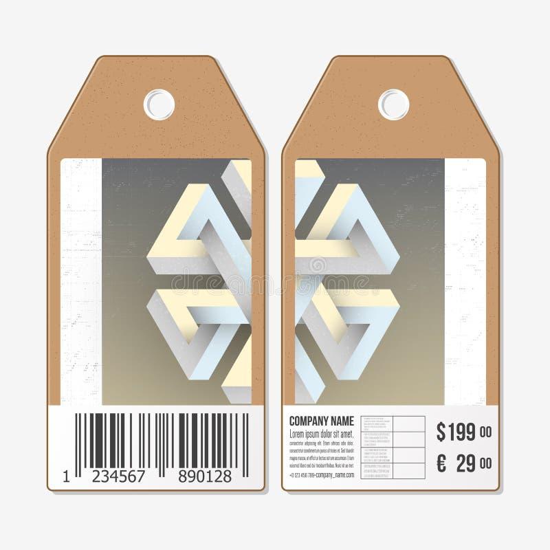 Vectormarkeringenontwerp aan beide kanten, de etiketten van de kartonverkoop met streepjescode Onwerkelijk onmogelijk geometrisch royalty-vrije illustratie