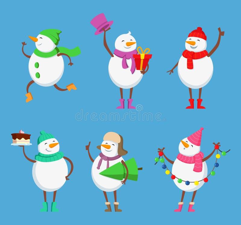 Vectormascotteontwerp van grappige sneeuwmannen Kerstmisset van tekens stock illustratie