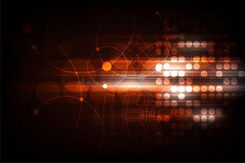 Vectormeetkunde in een technologieconcept op een donkeroranje achtergrond vector illustratie
