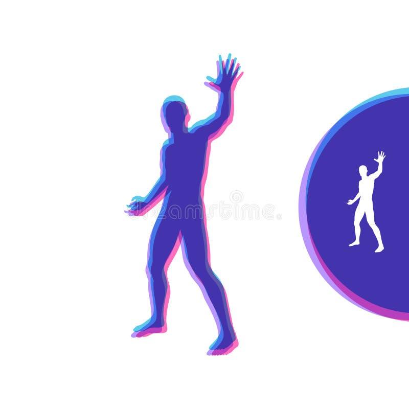 Vectormens met hand tot einde Mens die eindegebaar tonen Silhouet van een bevindende mens Vector illustratie vector illustratie
