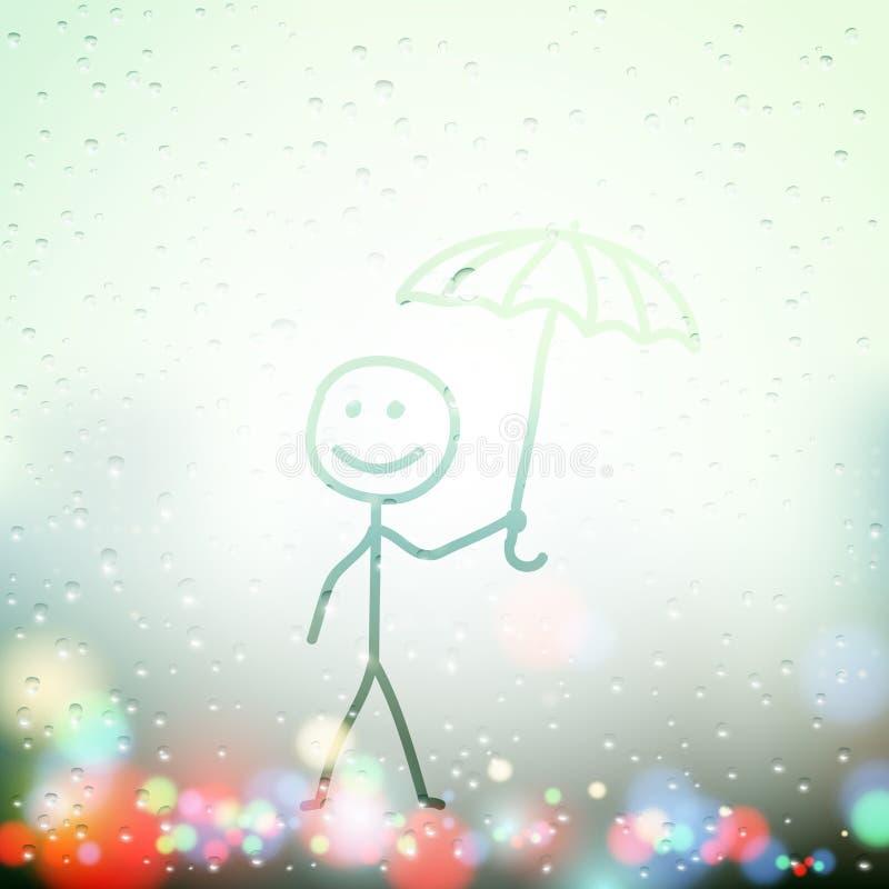 Vectormens met paraplu stock illustratie