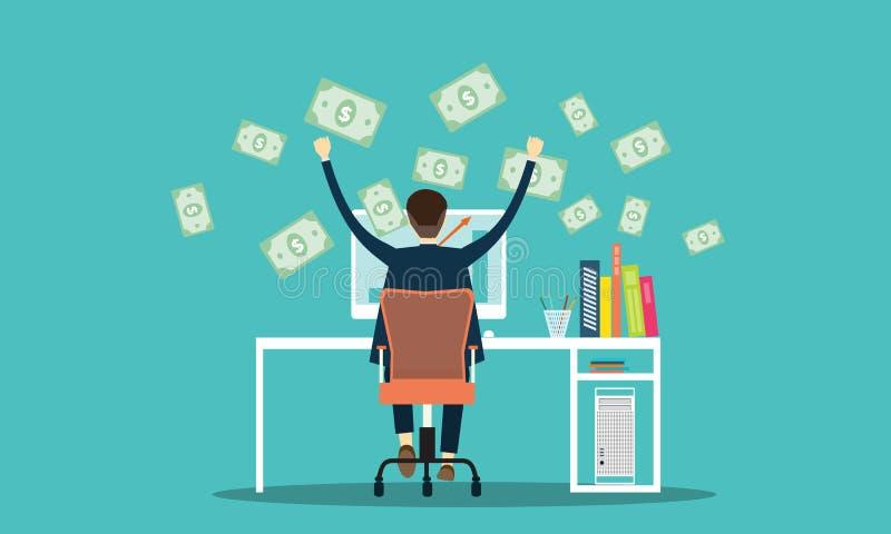 Vectormensen die zaken verdienen die online achtergrond op de markt brengen