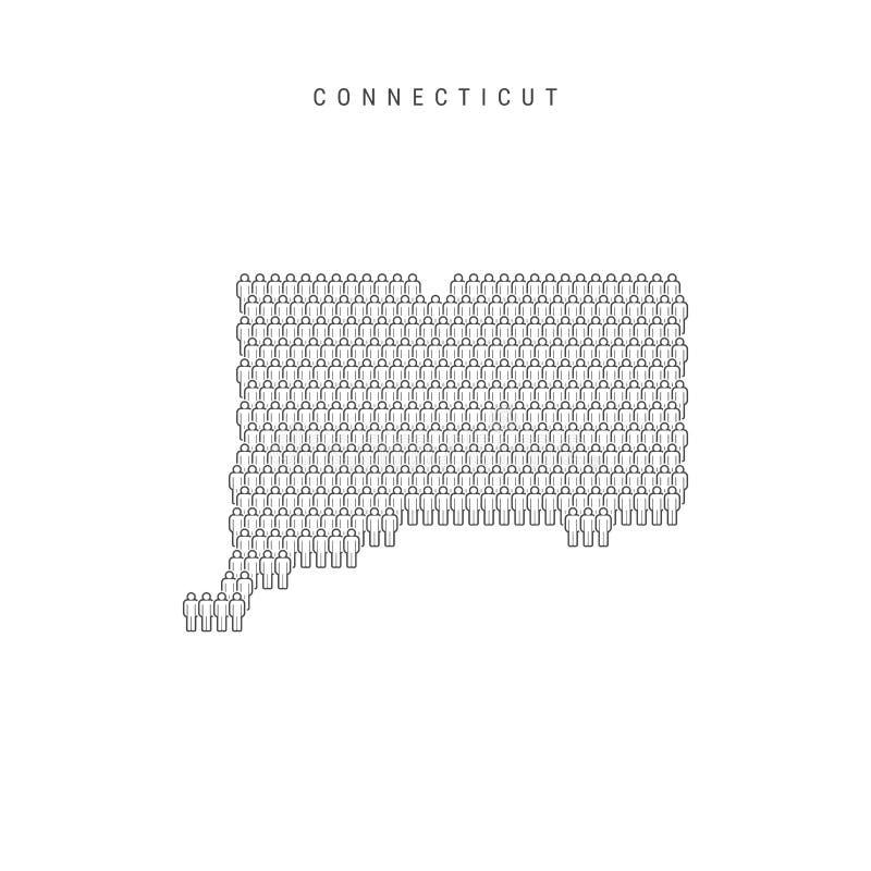 Vectormensenkaart van Connecticut, de Staat van de V.S. Gestileerd Silhouet, Mensenmenigte De Bevolking van Connecticut stock illustratie