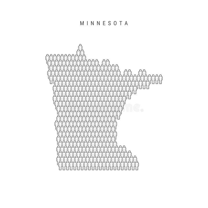 Vectormensenkaart van Minnesota, de Staat van de V.S. Gestileerd Silhouet, Mensenmenigte De Bevolking van Minnesota royalty-vrije illustratie