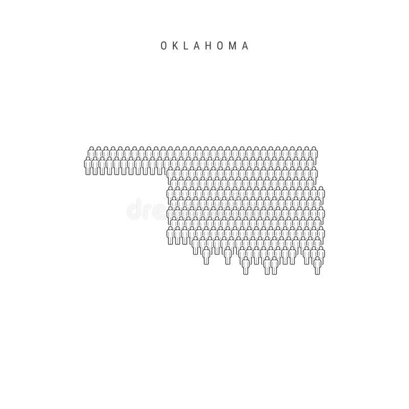 Vectormensenkaart van Oklahoma, de Staat van de V.S. Gestileerd Silhouet, Mensenmenigte De Bevolking van Oklahoma stock illustratie