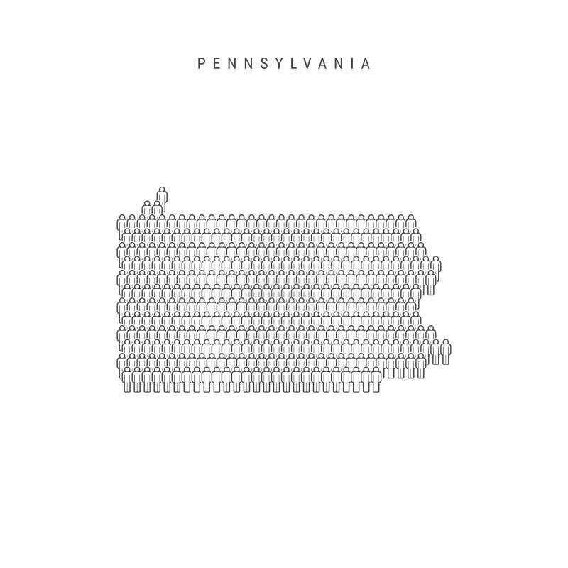 Vectormensenkaart van Pennsylvania, de Staat van de V.S. Gestileerd Silhouet, Mensenmenigte De Bevolking van Pennsylvania vector illustratie