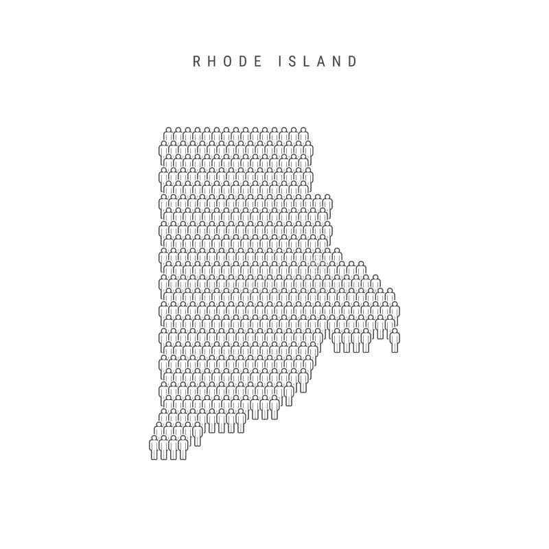 Vectormensenkaart van Rhode Island, de Staat van de V.S. Gestileerd Silhouet, Mensenmenigte Rhode Island Population vector illustratie