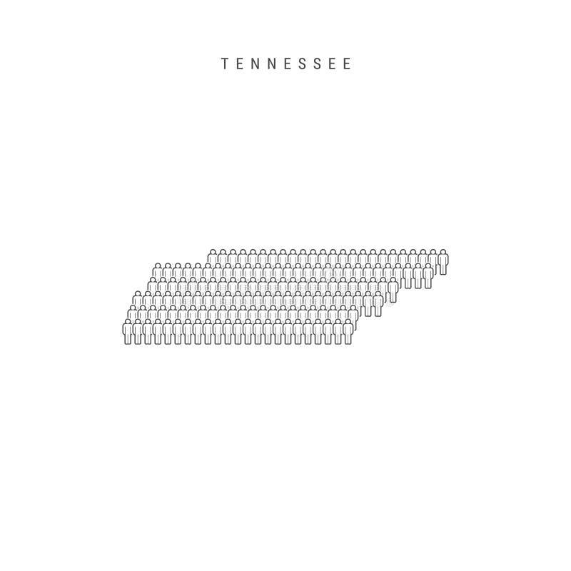 Vectormensenkaart van Tennessee, de Staat van de V.S. Gestileerd Silhouet, Mensenmenigte Tennessee Population stock illustratie