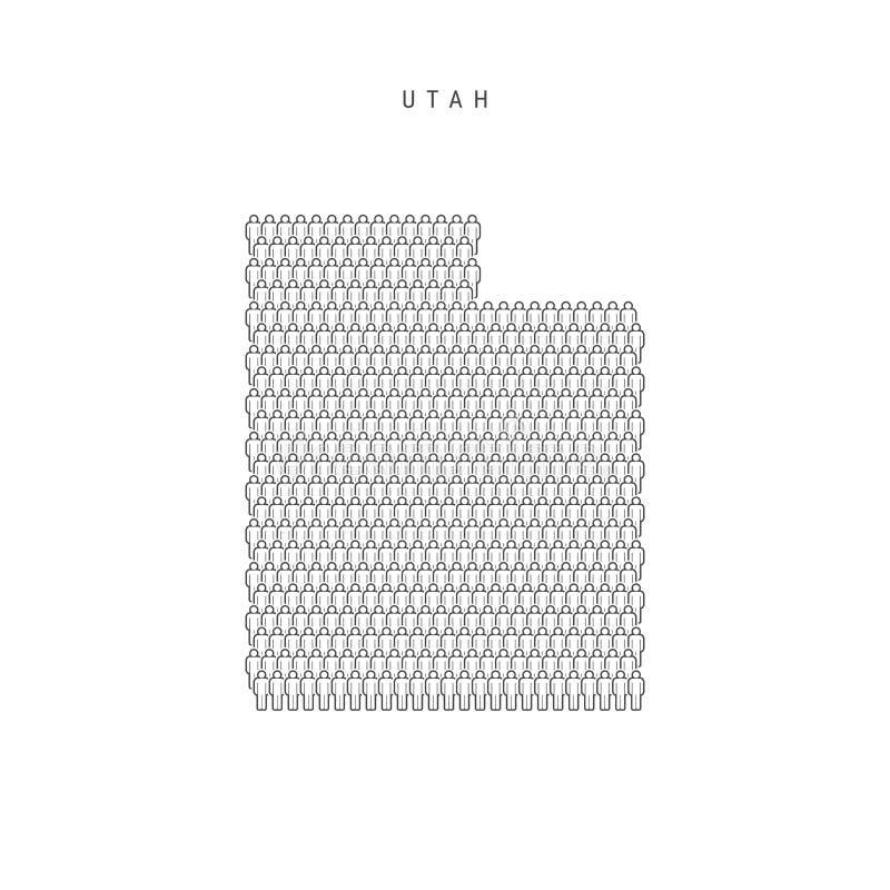 Vectormensenkaart van Utah, de Staat van de V.S. Gestileerd Silhouet, Mensenmenigte De Bevolking van Utah royalty-vrije illustratie