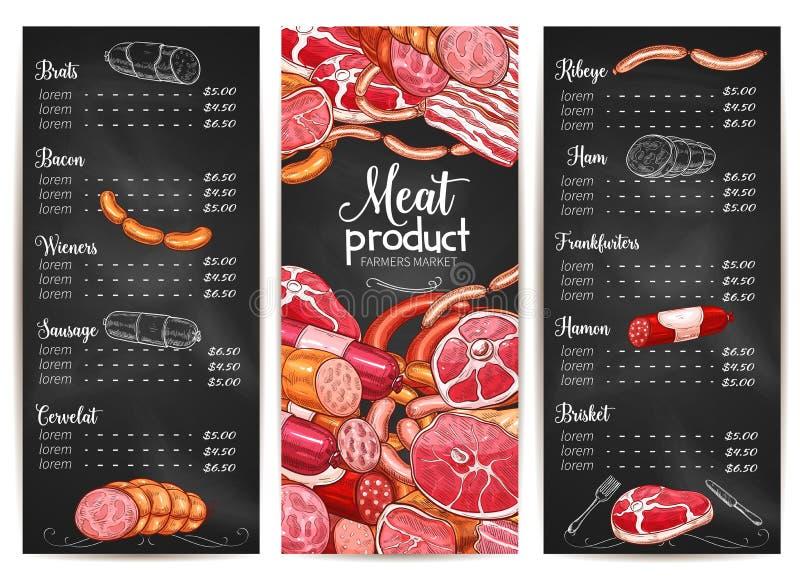 Vectormenu of prijslijst voor het vlees van de Slachterijwinkel vector illustratie