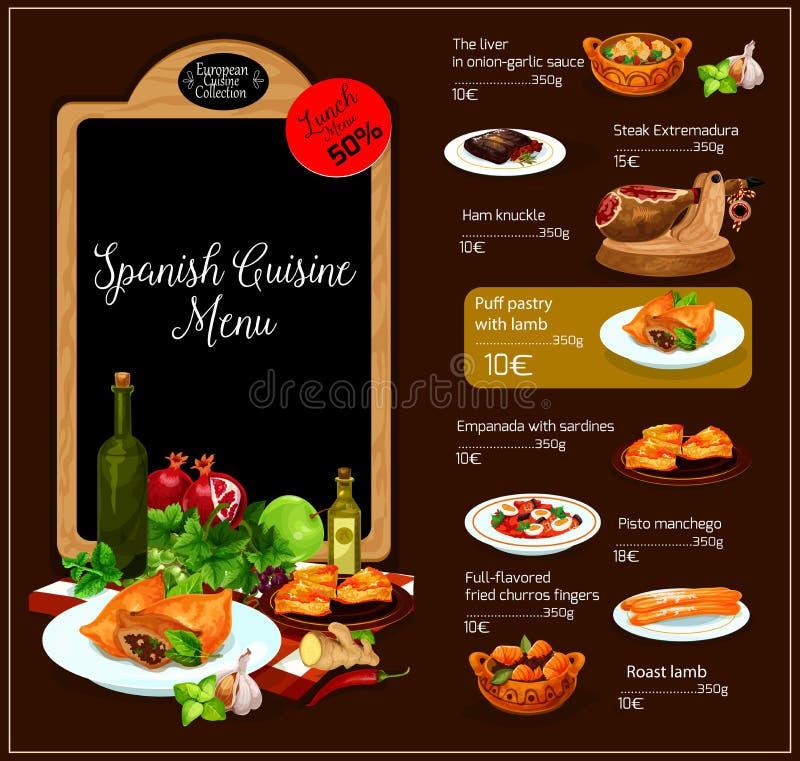 Vectormenu van Spaans keukenrestaurant vector illustratie