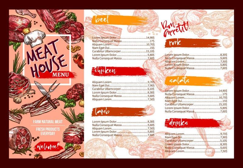 Vectormenumalplaatje voor vers vleesrestaurant royalty-vrije illustratie