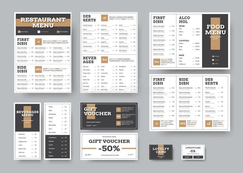 Vectormenumalplaatjes voor koffie en restaurants in wit met zwarte blokken stock illustratie